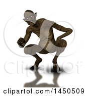 Poster, Art Print Of 3d Crouching Demon On A White Background