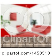 Clipart Graphic Of A 3d Wooden Table Top With A Blurred White And Red Living Room Royalty Free Illustration by KJ Pargeter