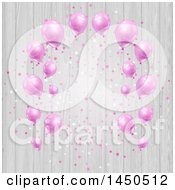 Frame Of Pink Party Balloons And Confetti Over Wood