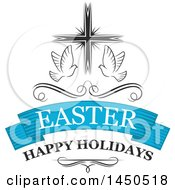 Clipart Graphic Of A Cross With Doves And Text Royalty Free Vector Illustration