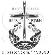Clipart Graphic Of A Black And White Cross And Easter Text Royalty Free Vector Illustration