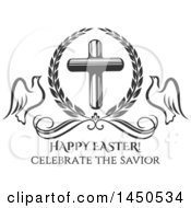 Clipart Graphic Of A Black And White Cross With Doves And Text Royalty Free Vector Illustration