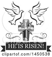 Black And White Cross With Doves And Text
