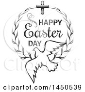 Black And White Cross And Wreath With A Dove And Text