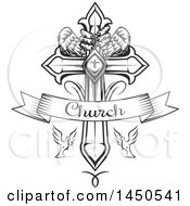 Clipart Graphic Of A Black And White Cross With Eagle Talons And Wings Doves And Church Text Royalty Free Vector Illustration