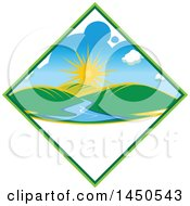 Clipart Graphic Of A Sunny Landscape With Hills And A River In A Diamond With Text Space Royalty Free Vector Illustration by Vector Tradition SM
