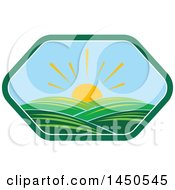 Clipart Graphic Of A Sunny Landscape With Hills In A Hexagon Royalty Free Vector Illustration by Vector Tradition SM