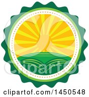 Clipart Graphic Of A Sunset Landscape With Hills In A Badge Royalty Free Vector Illustration