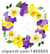 Clipart Graphic Of A Wreath Made Of Daffodils And Narcissus Flowers Royalty Free Vector Illustration