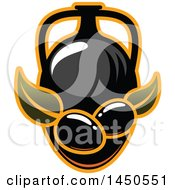 Clipart Graphic Of A Pitcher Of Oil And Black Olives With Leaves Royalty Free Vector Illustration