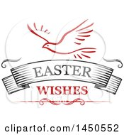 Clipart Graphic Of A Dove And Easter Wishes Text Royalty Free Vector Illustration