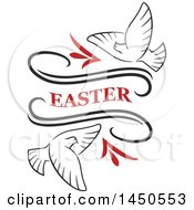 Clipart Graphic Of Easter Text With Doves Royalty Free Vector Illustration