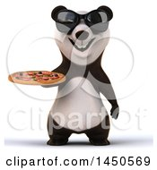 3d Panda Holding A Pizza On A White Background