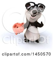 3d Panda Holding A Piggy Bank On A White Background