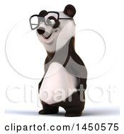 3d Panda Wearing Glasses On A White Background