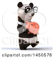 3d Business Panda Wearing Glasses And Holding A Piggy Bank On A White Background