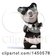 3d Business Panda Wearing Sunglasses On A White Background