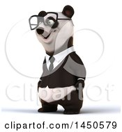 3d Business Panda Wearing Glasses On A White Background