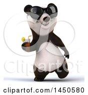 3d Panda Holding A Beverage On A White Background