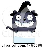Clipart Graphic Of A Cartoon Witch Cat Character Mascot Over A Blank Sign Royalty Free Vector Illustration by Cory Thoman