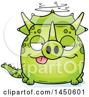 Cartoon Drunk Triceratops Character Mascot