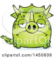 Cartoon Sad Triceratops Character Mascot