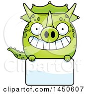 Poster, Art Print Of Cartoon Triceratops Character Mascot Over A Blank Sign