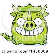 Cartoon Grinning Triceratops Character Mascot