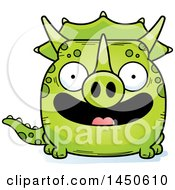 Clipart Graphic Of A Cartoon Smiling Triceratops Character Mascot Royalty Free Vector Illustration