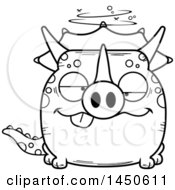 Cartoon Black And White Lineart Drunk Triceratops Character Mascot