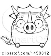 Poster, Art Print Of Cartoon Black And White Lineart Happy Triceratops Character Mascot