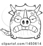 Cartoon Black And White Lineart Mad Triceratops Character Mascot
