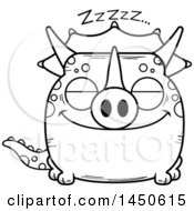 Cartoon Black And White Lineart Sleeping Triceratops Character Mascot