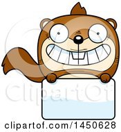 Cartoon Squirrel Character Mascot Over A Blank Sign