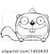 Clipart Graphic Of A Cartoon Black And White Lineart Happy Squirrel Character Mascot Royalty Free Vector Illustration