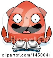 Clipart Graphic Of A Cartoon Reading Squid Character Mascot Royalty Free Vector Illustration by Cory Thoman