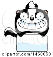Cartoon Skunk Character Mascot Over A Blank Sign