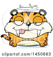 Clipart Graphic Of A Cartoon Drunk Saber Toothed Tiger Character Mascot Royalty Free Vector Illustration