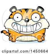 Clipart Graphic Of A Cartoon Grinning Saber Toothed Tiger Character Mascot Royalty Free Vector Illustration
