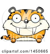 Clipart Graphic Of A Cartoon Happy Saber Toothed Tiger Character Mascot Royalty Free Vector Illustration