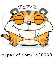 Clipart Graphic Of A Cartoon Sleeping Saber Toothed Tiger Character Mascot Royalty Free Vector Illustration