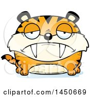 Clipart Graphic Of A Cartoon Sad Saber Toothed Tiger Character Mascot Royalty Free Vector Illustration