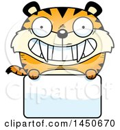 Clipart Graphic Of A Cartoon Saber Toothed Tiger Character Mascot Over A Blank Sign Royalty Free Vector Illustration