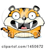 Clipart Graphic Of A Cartoon Smiling Saber Toothed Tiger Character Mascot Royalty Free Vector Illustration