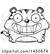 Clipart Graphic Of A Cartoon Black And White Lineart Grinning Saber Toothed Tiger Character Mascot Royalty Free Vector Illustration