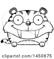 Clipart Graphic Of A Cartoon Black And White Lineart Happy Saber Toothed Tiger Character Mascot Royalty Free Vector Illustration
