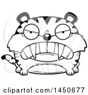 Clipart Graphic Of A Cartoon Black And White Lineart Mad Saber Toothed Tiger Character Mascot Royalty Free Vector Illustration