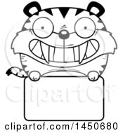 Clipart Graphic Of A Cartoon Black And White Lineart Saber Toothed Tiger Character Mascot Over A Blank Sign Royalty Free Vector Illustration