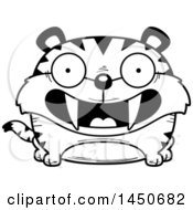 Clipart Graphic Of A Cartoon Black And White Lineart Smiling Saber Toothed Tiger Character Mascot Royalty Free Vector Illustration