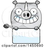 Cartoon Rhinoceros Character Mascot Over A Blank Sign
